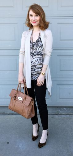 cardigan, Theory; top, DvF (thrifted); pants, J. Crew Factory; shoes, J. Crew (thrifted); bag, Mulberry