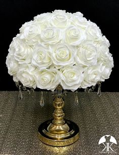 IVORY Rose Arrangement made with PREMIUM Real Touch Silk Roses. IVORY Wedding Centerpiece. Quinceaera. Sweet 16. Bridal Shower. PICK ROSE COLOR! 14 SIZE PICTURED.  GOLD STAND With CRYSTALS Sold Separately