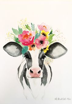 Meet Libby! #art #painting #housewarming #whimsicalart #farmart #floralcow #floralcrown #animalportrait #farmhouse