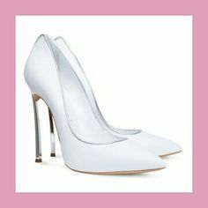 Casadei Blade Pump in White with Silver Lining