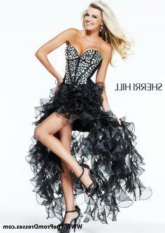Cheap Sherri Hill 1586 Black Ruffled Rhinestone Top High Low Prom Dresses Sale