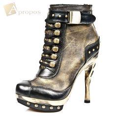 Stiefeletten 10,5cm Damen Plateau Stiefel Metall Gold Schnürung Nieten Apropos