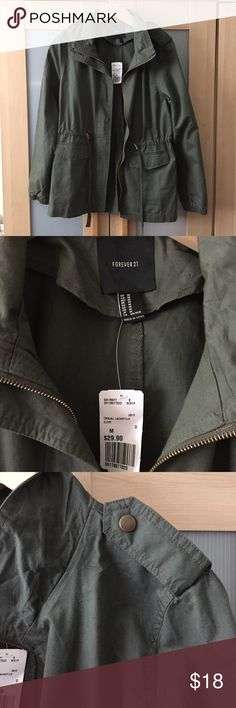 Forever 21 Army Green Utility Jacket NWT NWT jacket, really cool with zipper detail on side backs!  Has drawstring and toggle to cinch waists. Forever 21 Jackets & Coats Utility Jackets