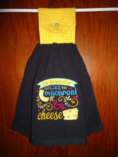 We go together like Macaroni & Cheese Embroidered Kitchen Towel by Marshaslilcraftpatch on Etsy
