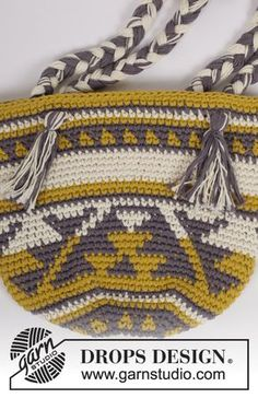 Crochet bag with color pattern in 2 strands DROPS Paris. Free pattern by DROPS Design. Tapestry Crochet Patterns, Crochet Motifs, Crochet Blocks, Tunisian Crochet, Crochet Stitches, Knitting Patterns, Scarf Patterns, Knitting Tutorials, Crochet Granny