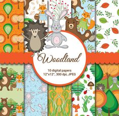 Woodland Digital Paper Woodland Animals Fall Graphics Cute Fox Seamless Forest Nursery Scrapbook Paper Bear Hedgehog Rabbit 10 images