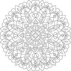 Flower Mandala printable coloring page. by PrintBliss on Etsy Mandala Coloring Pages, Coloring Book Pages, Printable Coloring Pages, Mandala Drawing, Mandala Art, Mandala Painting, Mandala Printable, Flower Mandala, Mandala Design