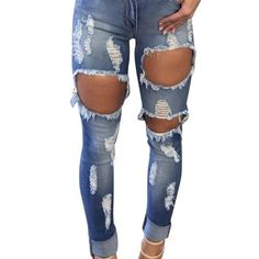 2da410c7cc7 Ripped Jeans : Mid Waist Pencil Ripped Jeans – Diosa Edition High Waist  Jeans, Destroyed