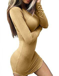 03bd0315fe73 Haola Women's Sexy Bodycon Tight Long Sleeve Mini T Shirts Dresses  Irregular Hem S Khaki Dresses