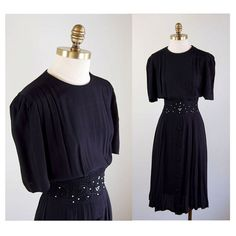 Beaded & Applique Black Rayon Dress // 1940s by winsomeandwayward, $35.00
