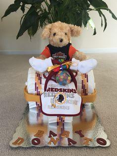 Washington Redskins tricycle diaper cake