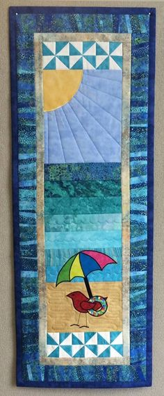 2015 Row x Row Kit & Pattern, by SEW BIZ Bobbin the Robin takes a trip to the beach. Lap Quilts, Small Quilts, Mini Quilts, Quilt Blocks, Ocean Quilt, Beach Quilt, Quilting Projects, Quilting Designs, Quilting Ideas