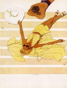 Illustration by Bernard Blossac, 1947, Beachwear, Summer Dresses.