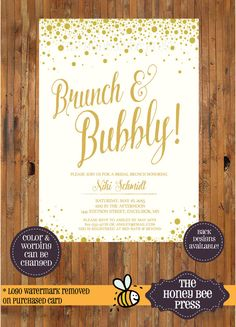 Brunch and Bubbly Champagne Bridal Shower, Bridesmaid Luncheon invitation  by The Honey Bee Press
