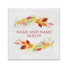 Fall Wedding Reception Cocktail Napkins  by PineAndBerryShop