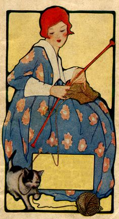 Ex Libris for your knitting books. Vintage Cards, Vintage Images, Illustrations, Illustration Art, Knitting Projects, Knitting Patterns, Free Knitting, Knitting Books, Retro