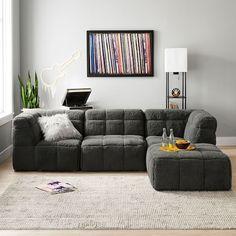 Vegan Leather Caramel Modern Lounger   Pottery Barn Teen Couches, Sectional Sofa, Sleeper Sofa, Teen Bedroom Furniture, Living Furniture, Furniture Decor, Clean Sofa, Square Ottoman, Corner Chair