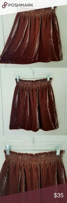 J. Crew Brown Panne Velvet Skirt J. Crew Collection shiny panne velvet skirt in a beautiful reddish chocolate brown color.  Stretchy shirred elastic waist.  Has pockets!  Absolutely gorgeous skirt!  Perfect for fall and winter.  There is a tiny spot on the back where the velvet got crushed as shown in 7th picture.  It is hardly noticeable and could possibly be fixed when dry cleaned.  There are no other flaws.  Excellent condition apart from noted spot.  Size 2 J. Crew Skirts