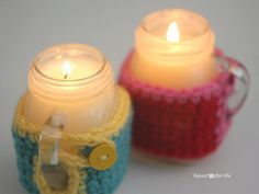 Repeat Crafter Me: Mason Jar Mug Crisco Candles with Crochet Cozy