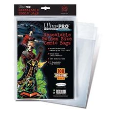 Ultra Pro Resealable Golden Size Comic Bags by Sports Images. $10.09. COMBAGGRU Features: -Stores golden size comics.-Resealable tape closure on flap.-100pct archival safe.-Acid - free.-Safe for long - term storage.-Sold in packs of 100.-Material: 2mil Ultra Clear Polypropylene. Dimensions: -Depth: 1''. Collection: -Ultra Pro Board and Bag collection.. Save 48% Off!