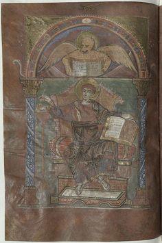 Évangéliaire de Saint-Riquier - Saint Marc - f66v - 21) ANGILBERT. -3- Poète et Chroniqueur: Les poèmes révèlent la culture et les goûts d'homme du monde, jouissant de la plus grande intimité avec la famille impériale. Surnommé l'HOMERE de la cour, il cultiva la poèsie avec succès, et fut membre de l'ACADEMIE PALATINE où il occupa le siège d'Homère. L'auteur Dufresne de Francheville, en utilisant quelques écrits d'Angilbert, écrit l'Histoire des 1° expéditions de Charlemagne, ...