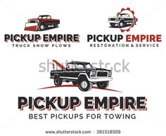 Set of retro pickup truck logos, emblems and icons. Car service logotype design. Tow and wrecker truck. Pickup with snow plow.