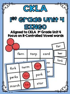 CKLA Skills 1st Grade Unit 4 BINGOThis activity is great for stations and workshops. The specific R-Controlled Vowel spelling patterns in this activity come from the CKLA 1st Grade Skills Unit 4.Includes 8 different BINGO cards featuring R-Controlled Vowels that are learned  in unit 4Includes one master sheet of all words to use for the BINGO callerCheck out all of my other CKLA Resources too!