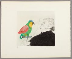 David Hockney | Félicité Sleeping, with parrot (1974) | Available for Sale | Artsy