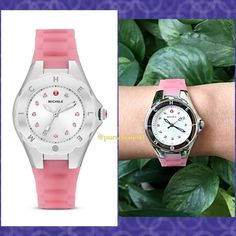 HOSTPICKAuthentic Michele Pink Tahitian Watch %AUTHENTIC✨Beautiful piece from Michele. Women's watch from Tahitian Jelly Bean collection features a pink silicone strap and silver topaz stones dial. Swiss quartz movement Silver dial. Water reistance 50meters. Dial window material: Sapphire Pristine, never used. Box and card included. NO TRADE  Michele Accessories Watches