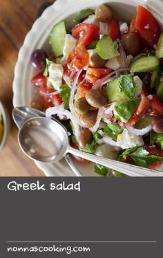 Make use of your autumnal garden vegies with this Greek salad recipe form Matthew Evans. Featuring creamy feta and kalamata olives, it's fantastic served with barbecued meats or hearty oven bakes, such as lamb shoulder moussaka. Olive Recipes, Kale Recipes, Cream Recipes, Greek Lamb Recipes, Greek Salad Recipes, Recipe Form, Olive Salad, Lamb Shoulder, Feta Salad