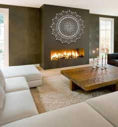 Cozy Corner Fireplace Design Ideas in the Living Room Home Fireplace, Living Room With Fireplace, Fireplace Design, Home Living Room, Living Room Designs, Living Room Decor, Fireplace Ideas, Casa Top, Large Metal Wall Art
