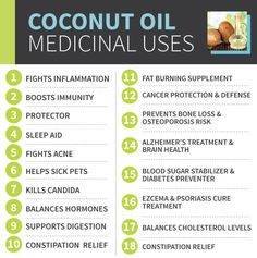 Coconut Oil - uses are countless and can be used for everything from deodorant to toothpaste and body lotion to weight loss aid. 9 Reasons to Use Coconut Oil Daily Coconut Oil Will Set You Free — and Improve Your Health!Coconut Oil Fuels Your Metabolism! Herbal Remedies, Health Remedies, Natural Remedies, Natural Treatments, Asthma Remedies, Coconut Oil Pulling, Coconut Oil For Skin, Uses For Coconut Oil, Coconut Lotion