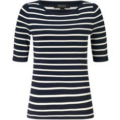 Bruce by Bruce Oldfield Shine Stripe Knit Top , Navy/Cream ($100) ❤ liked on Polyvore featuring tops, striped knit top, special occasion tops, cream top, navy stripe top and shiny tops
