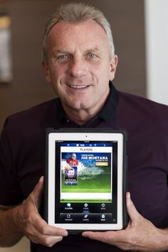 Joseph Joe Montana, co-founder of iMFL and retired National Football League (NFL) quarterback, holds an Apple Inc. iPad with the iMFL game displayed as he sits for a photograph after an interview in San Francisco, California, U.S. on Tuesday, April 30, 2013. iMFL, a fantasy football application that will be available for download at the Apple Inc. App Store, will be released before the start of the 2013 NFL season. Photographer: David Paul Morris/Bloomberg *** Local Caption *** Joe Montana…