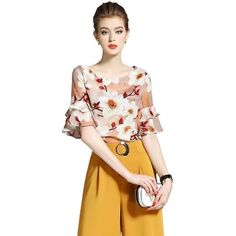 f8b4e05ce3b3e8 2017 Summer Fashion Women Shirts Butterfly Sleeve Chiffon Print Silk Blouse  Shirt Design And Color 6970