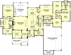 The Ranch house plan style has a variety of definitions. Some refer to Ranch house plans as running a ranch others as bred or other purposes. Ranch House Plans, New House Plans, Dream House Plans, House Floor Plans, Dream Houses, Ranch Style Floor Plans, Family House Plans, The Plan, How To Plan