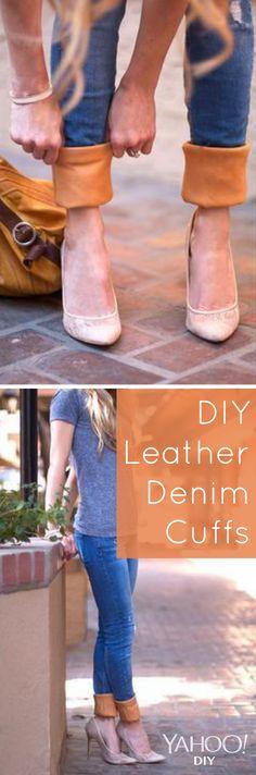 DIY Leather Denim Cuffs - Love this tutorial