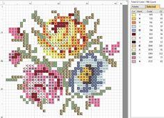 Rose brooch cross stitch pattern