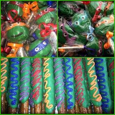TMNT Combo Deal. Teenage Mutant Ninja Turtles favor combo. Teenage Mutant Ninja turtle lollipops, cake pops and pretzels. TMNT by SpeciallyMadeBows on Etsy https://www.etsy.com/listing/218798603/tmnt-combo-deal-teenage-mutant-ninja