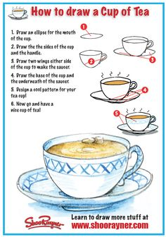 ~How To Draw A Cup Of Tea NTS: do with foreshortening and make it hot  chocolate with marshmallows!