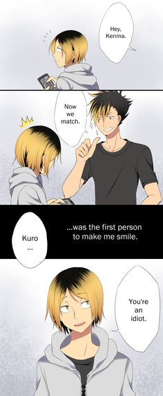 "KuroKen Month, Day 2 – First Smile Kenma's smile is so rare and so very, very precious. This was originally ""the first time Kuroo did something really, and I mean REALLY stupid"" Kagehina, Kuroo X Kenma, Iwaoi, Nishinoya, Daisuga, Haikyuu Manga, Haikyuu Funny, Haikyuu Fanart, All Out Anime"