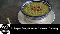 This week we're back in Hackers for another super quick and simple no cook chutney. This one is really great with a dal or the smoky aubergine curry. Coconut Chutney, Guacamole, Super Easy, Vegetarian Recipes, Oatmeal, Curry, Mint, Cooking, Breakfast