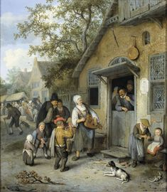 by Cornelis Dusart, 1680 - 1704 - Rijksmuseum Amsterdam Paintings Famous, Medieval Peasant, Baroque Painting, Village Girl, Classic Artwork, Famous Pictures, Dutch Golden Age, Dutch Painters, Old Houses