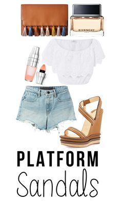 """""""Platform Sandals"""" by xoxo-camellia on Polyvore featuring Christian Louboutin, T By Alexander Wang, Miguelina, Rebecca Minkoff, Givenchy and Lancôme"""