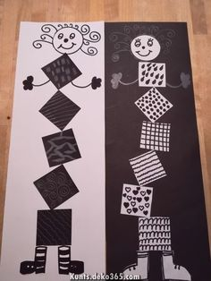 Clowns in schwarz-weiß – Best Education Art For Kids, Crafts For Kids, Arts And Crafts, Paper Crafts, Theme Carnaval, Newspaper Art, Cardboard Sculpture, Art Lessons Elementary, Elementary Schools
