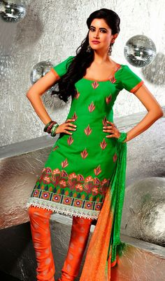 Green and Orange Cotton Churidar Dress Look beautiful draped in this green and orange cotton churidar dress. The ethnic cord, multi, patch and resham work to the attire adds a sign of elegance statement for your look. #BeautifulCottonChuridarSuits #Indian&PakistaniChudidar