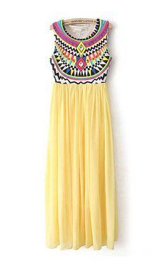 So Pretty! Colorful Yellow Printed O-neck Sleeveless Chiffon Maxi Beach Dress #Yellow #Maxi_Dress #Beach #Fashion