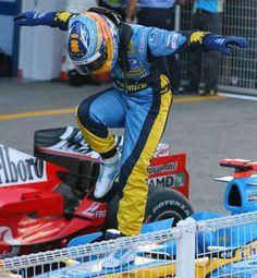 Fernando Alonso... crane style.  F1