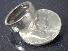 COIN RING  ---- (U.S. Franklin Half Dollar) ---- (90% Silver) - (Obverse Orientation) - (Choose The Year and Ring Size You Want)