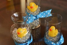 Rubber Ducky Baby Shower Centerpieces   Karla is fabulous at scrap-booking and whipped up this banner!